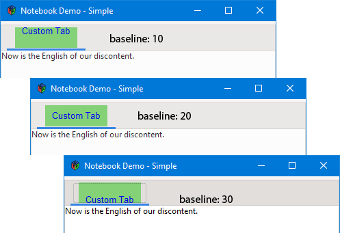 Figure 2: How the Custom Tab's Baseline setting Affects Placement of the Text